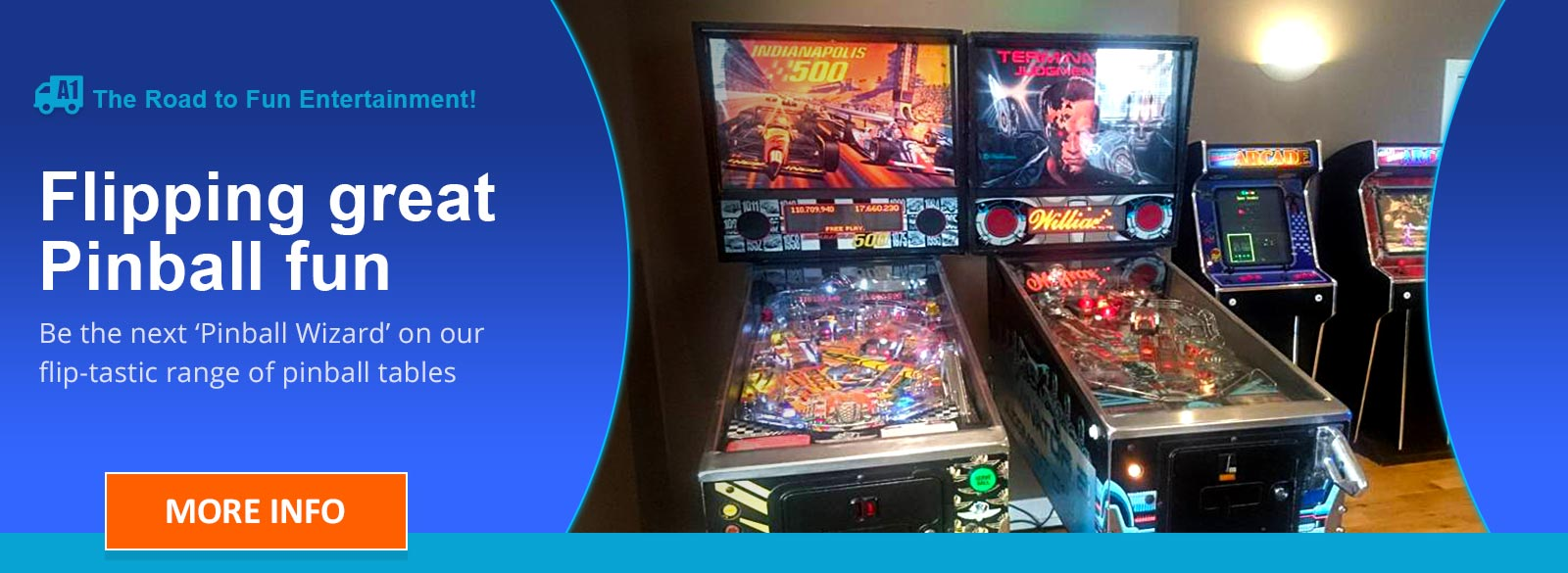 Two retro Pinball Machines in a popup games arcade